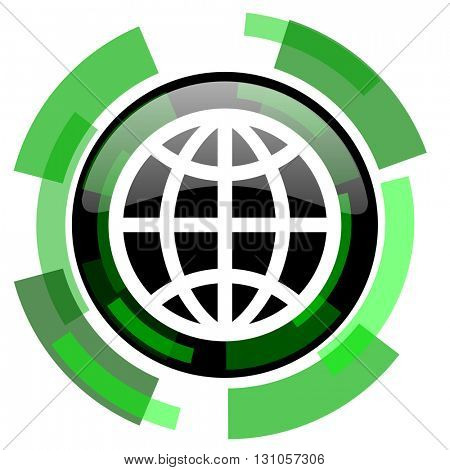 earth icon, green modern design glossy round button, web and mobile app design illustration