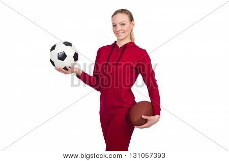 Woman in sports concept isolated on white