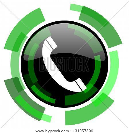 phone icon, green modern design glossy round button, web and mobile app design illustration