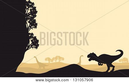 Silhouette of allosaurus with Brachiosaurus at the morning