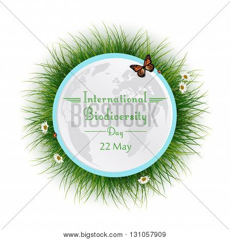 Vector illustration of Natural frame with grass circle for International Biodiversity Day