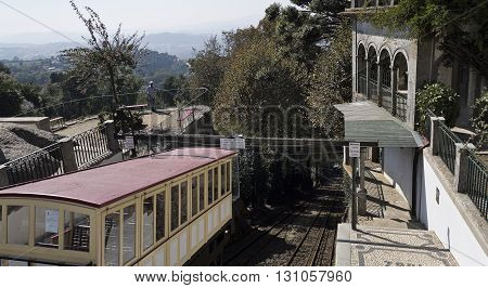 BRAGA, PORTUGAL - September 21, 2015: Inaugurated in 1882 the Bom Jesus do Monte Funicular in Braga Portugal is the oldest funicular in the world moved by water counterbalancing, on September 21, 2015 in Braga, Portugal