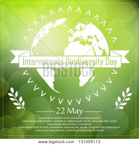 Vector illustration of Biodiversity background with earth and ribbon a shape typography