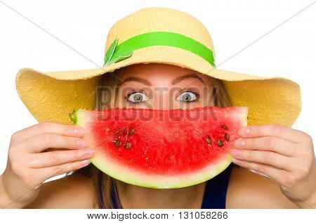 Woman eating watermelon isolated on white