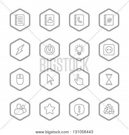 gray line web icon set with hexagon frame for web design user interface (UI) infographic and mobile application (apps)