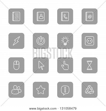 line web icon set on gray rounded rectangle for web design user interface (UI) infographic and mobile application (apps)