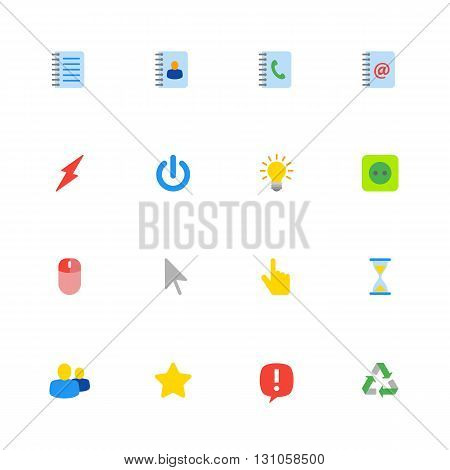 colorful flat web icon set for web design user interface (UI) infographic and mobile application (apps)