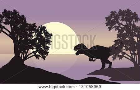 allosaurus in riverbank scenery silhouette at the sunset