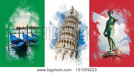 Italian flag with famous italian attractions