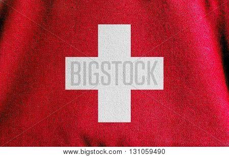 the Switzerland flag cavas fabric texture background