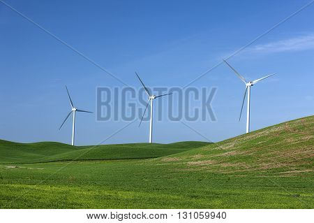 Wind mills on the Palouse. Clean energy wind turbines operating on the palouse region of eastern Washington.