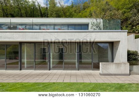 Exterior, facade of a modern house, woodland background