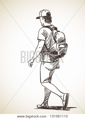 Sketch of walking man, Hand drawn illustration