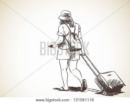 Sketch of woman walking with suitcase, Hand drawn illustration