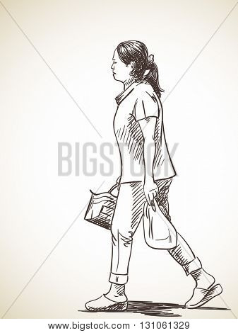 Sketch of asian woman walking with bags, Hand drawn illustration