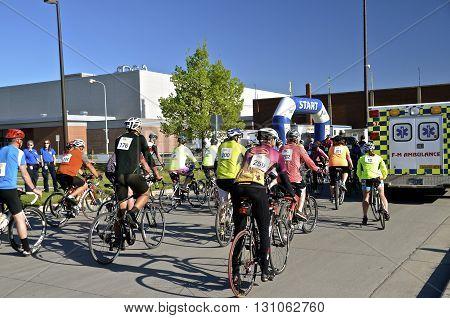 FARGO, NORTH DAKOTA-May 15, 2016: The Cyclothon Bike Race has stared at the annual Fargo Marathon, 5K, 10K,half and full runs.