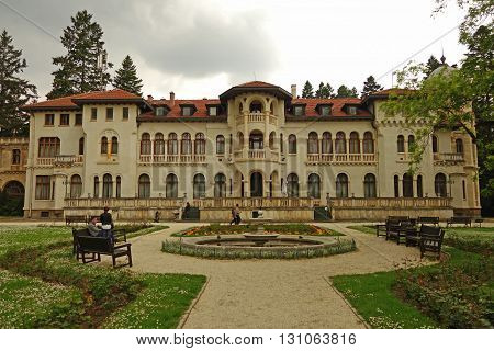 SOFIA, BULGARIA - MAY 8, 2016: Vrana Palace is a former royal palace, located on the outskirts of Sofia. It was the official residence of Tsar Simeon II of Bulgaria and his wife Tsaritsa Margarita.