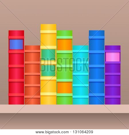 Vector illustration of shelf with rainbow books.Realistic books in row separately from the background