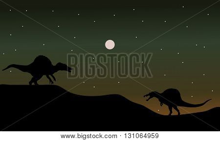 Spinosaurus in hills scenry silhouette at the night
