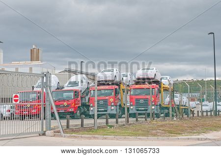 UITENHAGE SOUTH AFRICA - MARCH 7 2016: New vehicles at a vehicle manufacturing plant in Uitenhage ready to be shipped to agencies world wide
