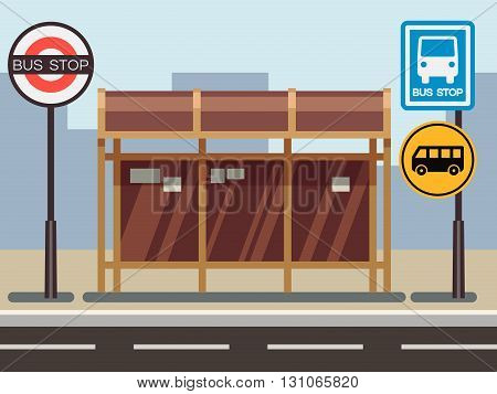 Bus stop with urban cityscape. Stop for transport or road bus stop. Vector illustration