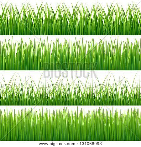 Green seamless grass vector set. Green lawn grass and field grass seamless meadow pattern illustration