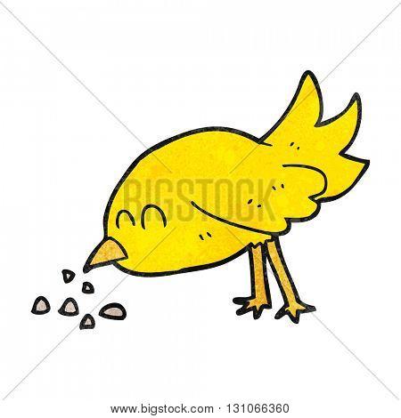 freehand textured cartoon bird pecking seeds