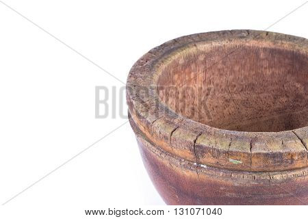 wooden mortar isolated on white background, timber object