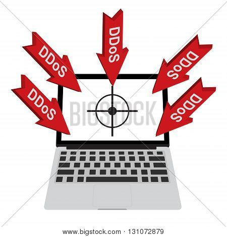 Victim computer laptop with target lock has Distributed Denial of Service ddos attack concept design. Vector illustration cyber crime in computer security concept.