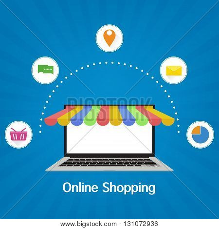Computer laptop with awning with shopping icon on blue ray background. Vector illustration business online shopping concept flat design.