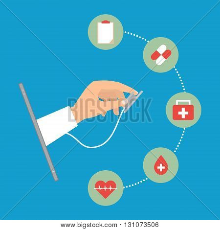 Doctor's hand with stethoscope from tablet telemedicine concept on blue background. Vector illustration internet of things technology trend.