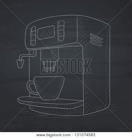 Coffee maker with cup. Coffee maker hand drawn in chalk on a blackboard. Coffee maker vector sketch illustration.