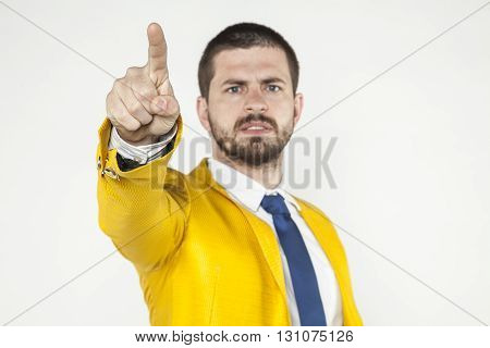 Angry Businessman Shows A Finger On You
