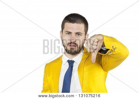 Businessman In A Golden Suit Shows Thumb Down