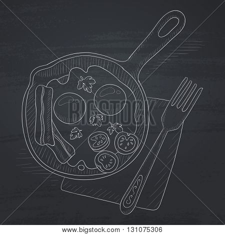 Fried eggs with bacon on frying pan. Fried eggs with bacon hand drawn in chalk on a blackboard. Fried eggs with bacon vector sketch illustration.