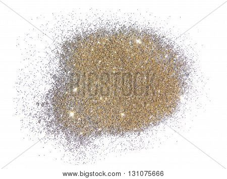 Glitter in cream color on white background with place for your text