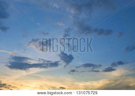 Beautiful Dramatic Sunset Sky, Image Scenic Background