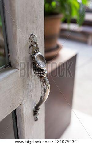 Open The Door, Close-up Door Handle Style Ancient On Vintage White Wooden Door