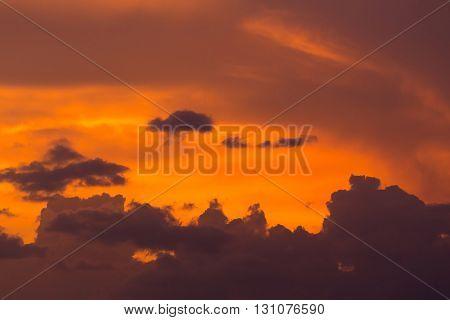 Colorful Dramatic Sunset Sky With Orange Cloud, Twilight Sky Background