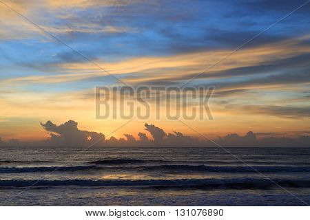 Beautiful Sunrise Sky In The Morning With Colorful Cloud On Sea, Summer Background