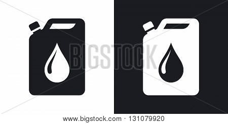 Vector oil jerrycan icon. Two-tone version on black and white background