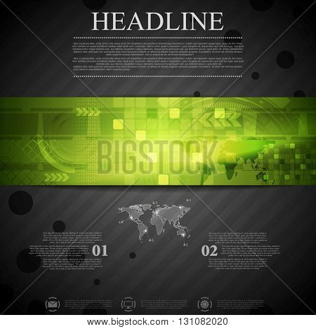 Brochure dark technology template with green banner element. Arrows, world map  and tech gear vector layout background