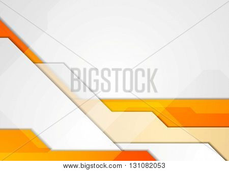 Orange grey abstract hi-tech motion background. Vector corporate design