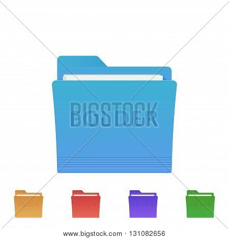 Vector set of folder icons. Colorful vector folder icons. Vector folder. Folder web icon.