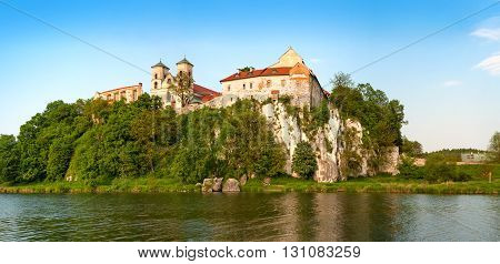 Krakow, Poland - May 19, 2016: Panorama of Tyniec. Benedictine monastery and Saint Peter and Paul church on the rocky hill by the Vistula River near Cracow Poland