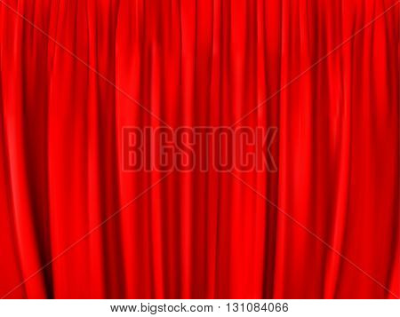 bright red curtain, background. vector illustration .
