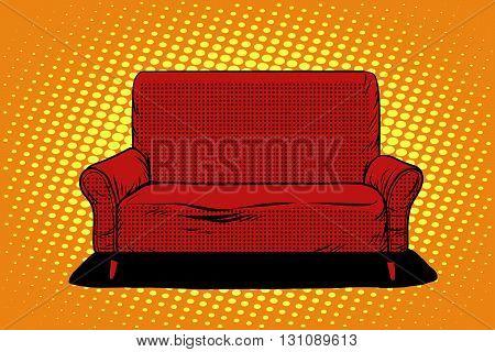Red sofa then pop art retro vector. Furniture seat interior. Retro furniture