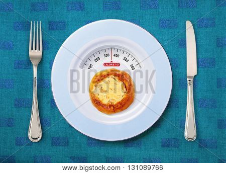 view of calorie tot in pizza that on white plate