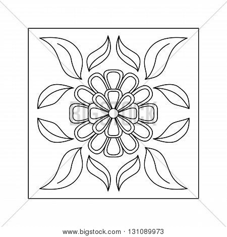 Abstract  floral pattern with flower and leaf. Decorative element.