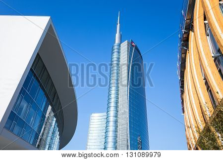 Milan Italy - February 9 2015: Porta Nuova the sinuous Porta Nuova building with the Unicredit tower in the background